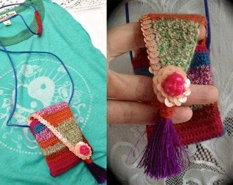 ilumina 2 *Original/'Psychedelic Buddha' STASH POUCH//fine merino & cashmere wool blend crochet/orange velvet liner/sequin/silk tassels