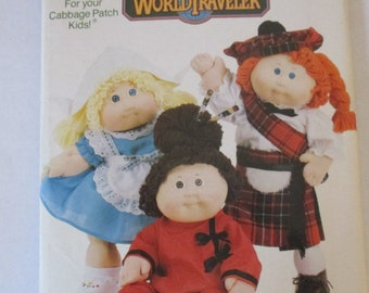 Vintage Cabbage Patch Butterick 406 World Traveler Scottish, Oriental, and Dutch doll clothes