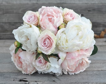 Soft pink wedding bouquet made with pink rose, pink peony and ivory peony silk  flowers.