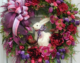 Front Door Wreath Easter Wreath Spring Summer Floral Decoration Sisal Bunny Rabbit Purple Pink Fuchsia Plum Cranberry Elegant Grapevine