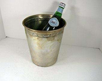 Vintage SILVERPLATE CHAMPAGNE BUCKET Tarnish Patina WEDDiNG Wine Chiller