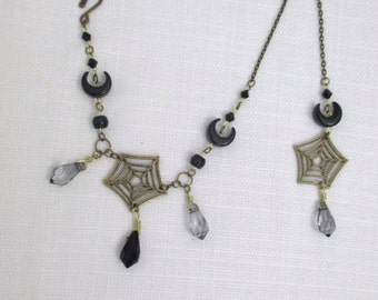 Tangled Web OOAK Beaded Nose Ring Chain, Brass Piercing Chain with Spider Webs and Crescent Moons