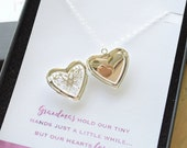 Grandma Filigree Locket with Tiny Personalized Hearts - Silver heart or Bronze round 1366