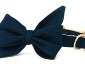 Crew LaLa™ Navy Blue Belle Bow Dog Collar