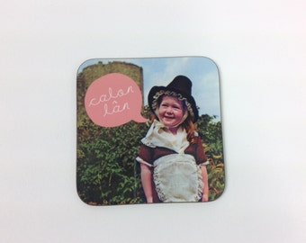 NEW - Calon Lan Welsh Text Pure Heart Hymn Song Vintage Girl Melamine Coaster