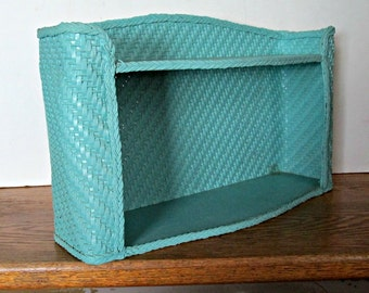 Vintage Wicker Shelf, Two Tier Shelves, Teal Painted Wall Hanging, Bathroom Storage, Cottage Style Decor, Storage Organizing
