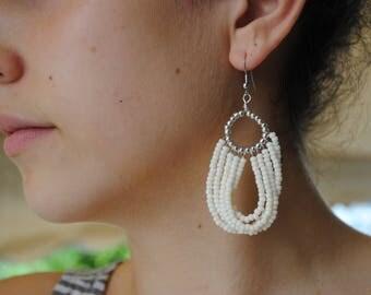 Cream earrings, white dangle earrings, seed beads in creamy white and silver, summer earrings