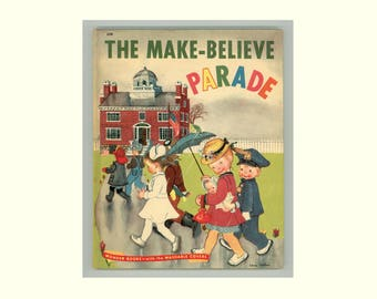 Eloise Wilkin Illustrations in The Make - Believe Parade by Jan Marco, Wonder Book 520, 1949 First Edition, Vintage Children's Book
