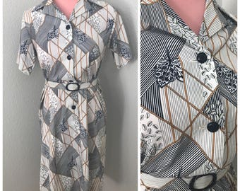 Navy and cream geo pattern belted collar 70s dress size Large