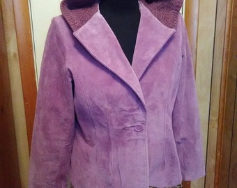 Pink Purple Suede Jacket with Sweater Hood / Altered Couture Refashion / Medium