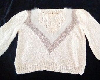 Vintage Ladies Small Linen/Knit/Faux Fur Pullover Sweater