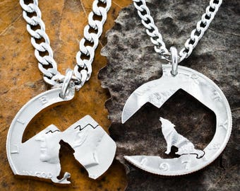 Howling Wolf Mountain necklace, hiking and wilderness His and Hers Couples jewelry, hand cut coin