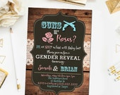 Guns or Roses gender reveal invitation, Western baby shower invite, gender reveal baby shower, rustic shower invite, digital file (JPD368)