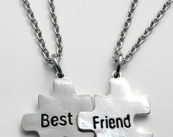 Best friend necklace set - silver metal with steel chains - CLEARANCE