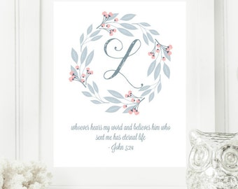 "Instant Monogram Scripture Wall Art Print 8x10 Typography Letter ""L"" Printable Home Decor"