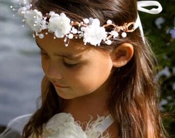 Flower Crown For Flower Girl / Ivory Flower Crown / Flower Girl Halo