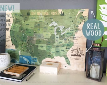 National Park Map, 5th Anniversary Gift, Wood Print, Gift for hiker, rustic wooden map, Wood Anniversary, National parks Map, Rustic decor