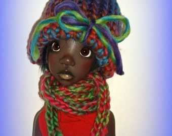 """Hand Knit Doll Hat and Scarf Set, """"Royal Peridot"""" Soft Acrylic, Handmade to fit 54 cm 21"""" Kaye Wiggs Tobi Doll, MSD BJD, by traveller240"""