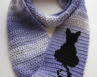 Cat Scarf. Purple striped, infinity crochet scarf with a black cat silhouette. Cat circle scarf. Kitty cat gift