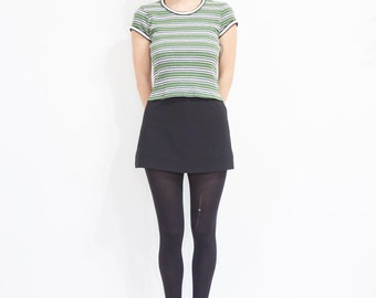 90s Cropped Striped Ribbed T-shirt