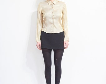 90s Cropped Iridescent Gold Button Blouse