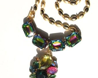 Statement necklace watermelon vitrail rhinestone upcycled vintage jewelry wearable art