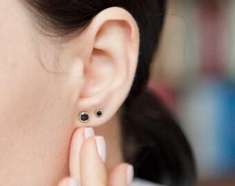 14K Gold Stud Earrings - Dark Blue Sapphire Earrings - Classic Gold Earrings - Everyday Gold Earrings - Dainty Gold Studs -Sapphire Earrings