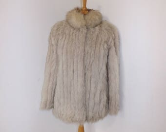Vintage real arctic polar fox fur and grey suede coat jacket white silver size Small UK 8 10 by Femina furs