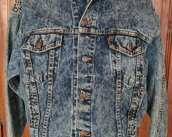 LEVI'S Acid Wash Denim Jacket XL Levi Strauss & Co 90s 1990s