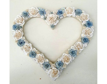 Flower Heart Floral Heart Blue White Flowers Wall Hanging Heart Nursery Decor 8 inch