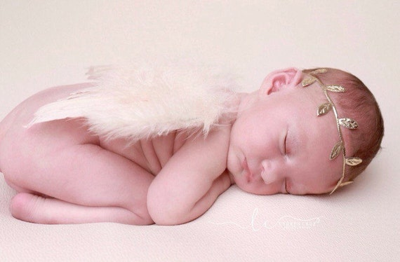 Blush Feather Angel Baby Wings AND/OR Gold Leaf Halo Headband, newborns, photo shoots, photographer, by Lil Miss Sweet Pea