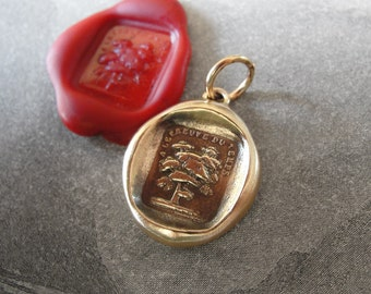 Tree Wax Seal Charm - Steadfast - antique wax seal jewelry pendant French motto Unchanged By Time Oak Tree by RQP Studio