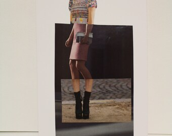 Original Magazine Collage Fashion Illustration // fashion art, collage art, pink, black, spliced art, apartment art, art gifts, decor