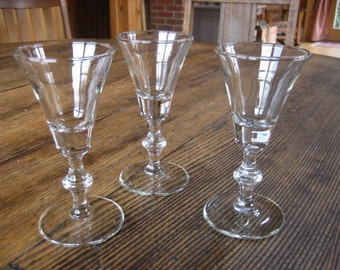 3 Hand Blown Sherry Cordial Apertif  Liqueur  Stem Glasses 1960s Barware