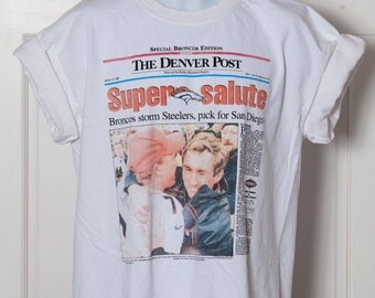 90s DENVER BRONCOS Super Bowl Tshirt - The Denver Post - XL