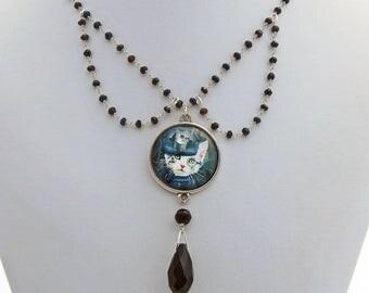 Steampunk Cat Black Crystal Handmade Designer Victorian Collar Necklace