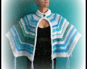 Crochet Cape,Knit Capelet,Crochet Poncho,Knitwear,Shawl,Wrap,Womens Cardigan,Sweater,,Cloak,One Size,Blue,Green,White,Fringe,Button,