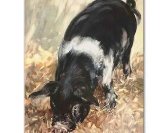 "Pig Art Print (Pig Gifts, Farm Nursery Decor) Farm Animals Print --- ""Hide and Seek"""