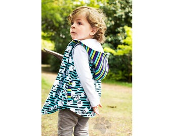 Reversible Vest Boy Girl Vest pattern Pdf sewing Big BAD WOLF, Long Vest, Trendy Vest with Pockets, Children Toddler Vest 3 - 10 yrs