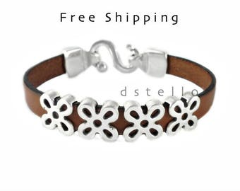 Women's leather bracelet - Flower bracelet for women - Anniversary, birthday gift for her - Antique silver flower beads - First quality