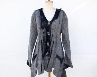 long jacket grey felted wool, unique art to wear, S size, fleece, steamed wool fabric, warm lightweight wearable art artsy 1