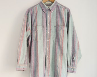 L/XL Retro Surf Washed Out Pastel Vintage Buttondown Longsleeve Vertical Striped Shirt Teal Cotton Sz. Large X-Large 90s Vintage