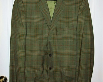 Vintage 1950s Men's Green Plaid Sport Coat Blazer by Botany 500 Size 40 R Only 15 USD
