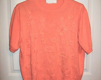 Vintage Ladies Embroidered Peach Sweater by Maurada Large Only 8 USD