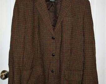 Vintage Ladies Brown Plaid Wool Blazer Lauren by Ralph Lauren Size 18 Only 11 USD