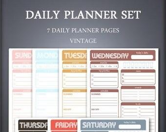 Printable Daily Planner Set - Weekly Planner Set - Vintage - Printable Planner Set