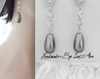 Gray pearl earrings- Gray wedding earrings, Cubic Zirconia's, Sterling silver posts, Swarovski pearl earrings, Long gray pearl earrings