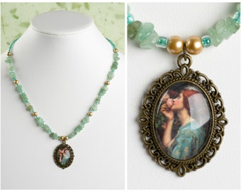 The Soul of a Rose. Vintage John William Waterhouse Art Pendant. With Green Aventurine Crystals. Antique Bronze.