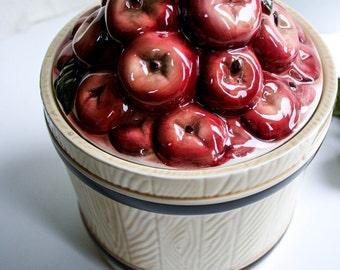 Vintage, Red Apples Barrel Cookie/Biscuit Jar