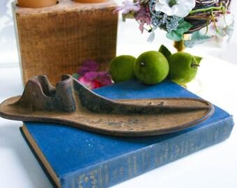 Antique Cast Iron Cobblers Shoe Mold, Unique Floral Vase, Industrial Prim Decor